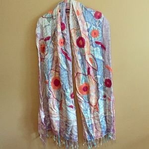 Accessories - Made in India Embroidered Floral Shawl Scarf